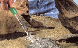 L'eau semble source de vie, surtout lorsque l'on installe son premier aquarium. Toutefois, les différents composés chimiques ajoutés, et destinés à renforcer la désinfection de l'eau, risquent fort de gâcher la fête. Voilà pourquoi il est plus que recommandé d'ajouter un conditionneur qui va neutraliser le chlore et autres éléments indésirables… et mortels pour la faune et la flore de l'aquarium. Photo : Aqua Press